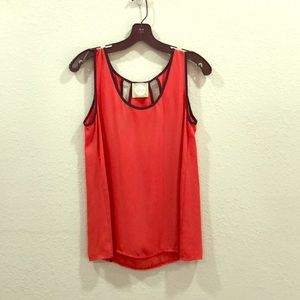 Red with navy trim shirt